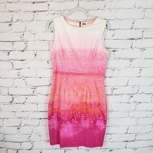 Elie Tahari White and Pink Print Sheath Dress